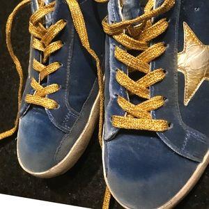 Blue and gold velvet golden goose Size 37/7